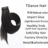 Fita natural do cabelo humano da cor de #1b em extensões do cabelo