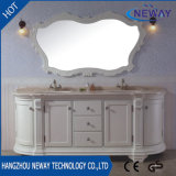 Тщета ванной комнаты античного деревянного пола стоящая изготовленный на заказ с двойным тазиком