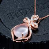 925 colgante de plata esterlina collar de piedra rosa de loto de cristal exquisito y elegante joyería