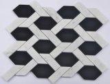 Mosaico biselado de la mezcla del mármol y del vidrio del hexágono