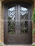 緩和された二重窓ガラスのプライバシーのガラスドアは錬鉄のドアを制作した