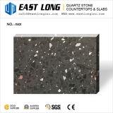 Noir en verre de quartz mousseux avec une certaine surface polie pour dossier de table