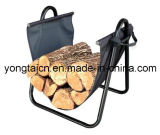 Suporte de madeira de lenha com suporte de lona