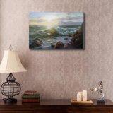 日没の海の波の油絵
