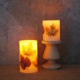 Vela Flameless da coluna do diodo emissor de luz da cera com folhas de plátano decoração, tema do outono