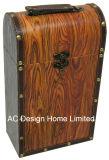 Decoración Vintage Diseño Café el doble de la impresión de cuero de PU/caja de vino de almacenamiento de madera MDF