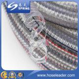 Manguera reforzada de alambre de acero de PVC transparente