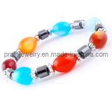 Moda primavera Multicolor Pulsera de perlas de resina, de plástico acrílico cordón cordón cordón magnético Pulsera magnética (PB-024)