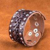 Hot Sale Bracelet Vintage conseil faites de peau de vache bracelet cuir plaqué argent