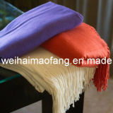100% Pure Cashmere Fringed Throw Blanket