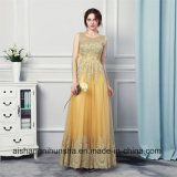 A - линия Appliqued шнурок золота выравнивающ платья вечера мантий безрукавный