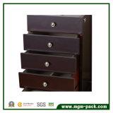 Estilo Tranditional jóias de madeira preta caixa com 4 gavetas