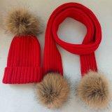 Цельновывязанное изделие с Beanie хорошего качества женщин зимой Red Hat Raccoon мех POM Red Hat