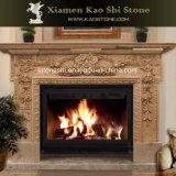 Chimenea de mármol beige natural Mantel chimenea tallado en piedra