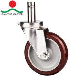 125mm pu devoir moyen industriel, de roulette roulette de la tige en acier inoxydable