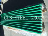 金属の鉄片か光沢のあるポリエステルによって側面図を描かれる広がるか、または波形のプロフィールの屋根ふきシート