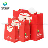 Bolsa de papel de empaquetado impresa insignia de encargo del regalo de lujo decorativo de la Navidad de Papá Noel con la maneta
