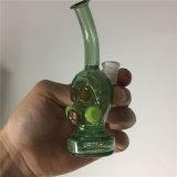Tubulação de fumo principal do crânio ambarino de vidro da cor do verde da água