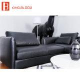 Cor preta L genuíno italiano sofá secional do sofá do couro da forma