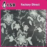 白い3Dによって刺繍されるポリエステルレースファブリック