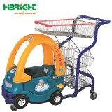 子供のおもちゃ車が付いているプラスチックスーパーマーケットのトロリー