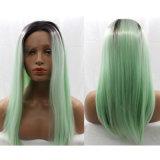 최신 똑바로 오래 판매 형식 녹색 합성 머리 가발