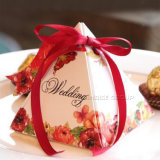 Contenitore di regalo impaccante di carta del reticolo del triangolo floreale di lusso di disegno con il nastro