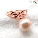 黄銅のバレンタインデーのギフトの真珠の弓指リング