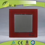 TUV CE CB Европейский стандарт сертифицированных закаленного стекла 1 токопроводящей дорожки 2 красный настенный переключатель