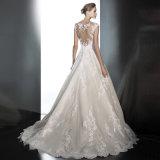 Applique 2018 Ivory da V-Garganta nova do estilo A - linha vestido de casamento A201710
