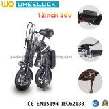 CE bicicleta eléctrica del mejor plegamiento popular de 12 pulgadas