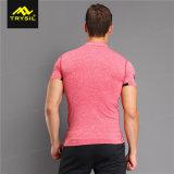 Chemise de compactage d'hommes avec les T-shirts fermés la fermeture éclair de sport