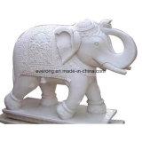 Мраморные скульптуры из камня статуи животных, белый слон резьба для сада