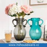 Doppia vaso saltato di vetro di arte di colore solido delle orecchie mano costolata