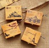주문을 받아서 만들어진 로고 나무로 되는 음악 상자 선전용 선물