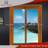 Portelli scorrevoli di vetro sembranti di legno americani del doppio di alluminio di profilo