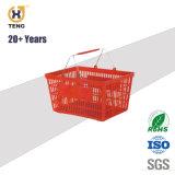 Xj-13 Plástico de supermercado cesto de compras com pega e Rodas