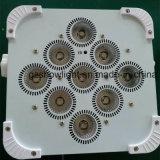 9pcs 18W 6en1 conduit par la lumière de la batterie rechargeable et sans fil plat DMX par la lumière