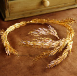 Fasce della principessa Tiara Handmade Bridal Headpiece degli accessori dei capelli di cerimonia nuziale dei monili dei capelli della fascia del foglio di oro