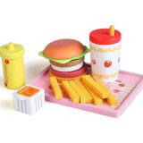 La cucina stabilita dei capretti della fragola dell'hamburger del gioco di legno del gioco finge i giocattoli