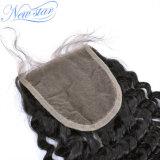 Оптовое горячее продавая закрытие человеческих волос китайской Kinky скручиваемости реальное