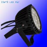 9*15W Rgbaw 5 em 1 LED de exterior à prova de luz PAR