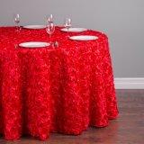 ポリエステル式党結婚式のテーブルクロスのための円形3Dロゼットのテーブルクロス