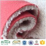 Material 100% de la tela de la zalea del paño grueso y suave de Sherpa del poliester