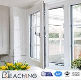 Торговая марка по выращиванию брюхоногих моллюсков UPVC профиль дверная рама перемещена стекло опускное стекло окна окно с помощью поворотного механизма запирания на ручке торговой марки