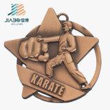 Médailles faites sur commande en alliage de zinc de karaté du bronze 3D de décoration à la maison