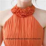 Orange Bridesmaid Vestidos Halter Sexy Backless Prom vestidos longos