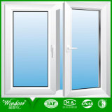 Ventana doble del marco del vidrio Tempered UPVC