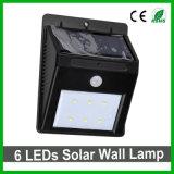 Indicatore luminoso solare del giardino LED della parete di buona qualità 6 LED del sensore solare esterno dell'indicatore luminoso PIR