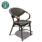 Silla de aluminio de los muebles del patio de Starbucks de la barra determinada comercial de los bistros con el final posterior de Textilene Brown